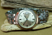 Rare Vintage Omega Seamaster Silver Dial Date Automatic Manand039s Watch Ss Strap