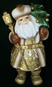 Wow Gorgeous Hand Painted Russian Santa Claus W/ Christmas Tree And Lantern 7189