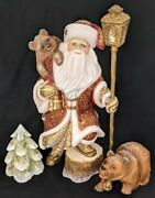 Wow Wonderful Hand Carved And Painted Santa Claus W/bears Tree And Lantern 6655
