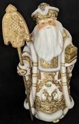 Wow Exquisite Hand Carved And Painted Wooden Santa Claus W/treasure Chest 1886