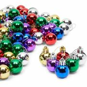 Mini Christmas Tree Ball Ornaments 6 Colors 1.1 X 1.6 In 96 Pack
