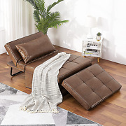 Vonanda Leather Ottoman Sleeper Chair Bedsmall Modern Couch Multi-position Conv