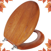 Elongated Toilet Seat Natural Wooden Toilet Seat With Zinc Alloy Hinges, Easy To