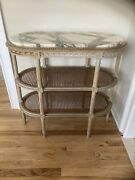 19th C French Louis Xv Lacquered Wood Caned Marble Top Oval 3-tiered Side Table