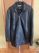 Tiger Woods Collection Rare Black Leather Perforated Jacket 100 Leather Size L