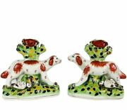 """Antique Staffordshire Hunting Spaniel Mantel Dogs Spill Vases C 19th England 7"""""""