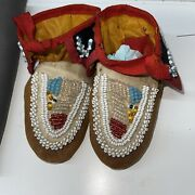 Antique 1890 -1900 Native American Eastern Great Lakes Beaded Child's Moccasins