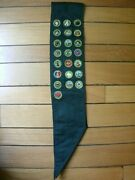 Vintage Boy Scout Dark Green Sash From The 1950s With 22 Merit Badges