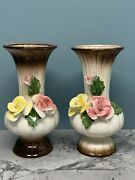 """Pair Of Nuova Capodimonte Vases - Porcelain Roses - 12"""" Tall - Beige/brown"""