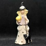 Vtg Halloween Lenox Young Girl Dressed As Witch W Pumpkin And Black Cat Figurine
