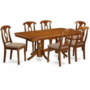7 Pc Dining Set - Rectangular Table And 6 Chairs Chairs Brown 7-piece Sets