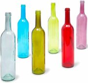 6 Pack Colored Wine Bottles, 750ml Empty Glass For Decoration, Crafts 6