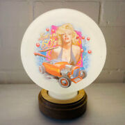 Lost In The 50s Marylin Mini Gas Pump Globe, Solid Oak Wooden Base Led Desk Lamp