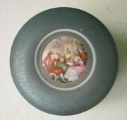 1950's Blue Shimmery Footed Pictorial Powder Jar Tin Victorian Music Song Theme