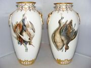 Very Rare Pair Of Large Kerr And Binns Worcester Game Birds Gilded Vases 1857