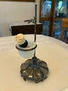 Vintage Queen City Silver Shaving Stand W/ Milk Glass Receptacle + Klenzo Brush.