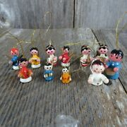Vintage Wood Angel Ornament Set Lot Christmas Blue Yellow Red Wooden Cardboard
