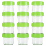 Glass Baby Food Storage Containers, Set Of 12-4 Ounce