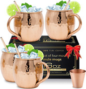 Moscow Mule Copper Mugs [gift Set] - Set Of 4 Hammered Pure Copper Cups 16 Oz, 4