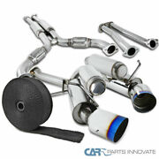 For 03-07 G35 Titanium Burnt Tip Catback Exhaust Muffler System+pipe Wrap And Ties