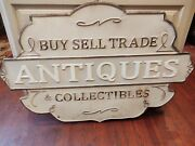 Vintage Store Hanging Metal Sign Buy Sell Trade Antiques 39.5 X 25.5