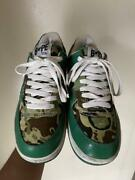 A Bathing Ape Bapesta Sneaker Shoes Green Camo Us7.5 Used From Japan F/s