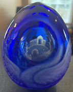Faberge Russian Cobalt Glass Egg Swan/building See Details.