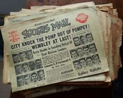 Lot Of 41 Vintage Leicester City Fc Related Sports Newspapers 1940s-2000s