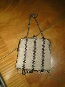 Antique Bead Work Purse With Beaded Tassels