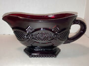 Vintage Avon 1876 Cape Cod Collection Ruby Red Glass Footed Gravy Boat