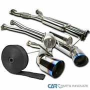 For 03-09 350z Dual Burnt Tip Catback Exhaust Muffler System+pipe Wrap+s/s Ties