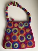 Rising Tide Felted 100 Wool Purse Bright Colors Made In Nepal 🇳🇵