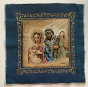 """Christmas Nativity Pillow Panel Jacquard Tapestry Fabric Project New 18"""" X 17.5"""""""