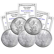 Ca 2021 Lot Of 5 1 Oz Silver Canadian Maple Leaf Coins Brilliant Uncirculated