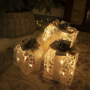Christmas Lighted Gift Boxes Set Of 3 Outdoor Present Decorations