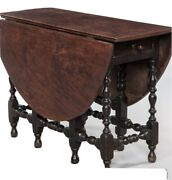 Superb Tiger Maple 18th Century Painted 1715 William And Mary Boston Gateleg Table