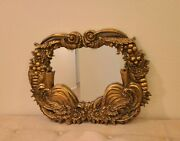 Antique Hand Carved Italian Gold Gilt Wall Mirror Flowers Scrolling Rococo Ornat