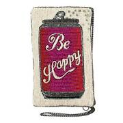 Mary Frances Be Happy Beaded Beer Can Red Pink White Crossbody Phone Bag Zip New