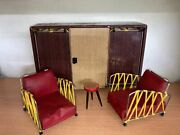 Vintage Dollhouse Wooden Furniture For 11 Dolls Armchairs And Wardrobe Bed 1960s