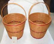 2 1991 Longaberger Red Tree Trimming Baskets-displayed Only- 13 1/2 T