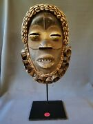 Dan Mask With 23 Brass Bells And Cowrie Shells, Custom Cast Iron Base. Liberia