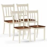 4pcs Wooden Dining Side Chair High Back Armless Home Furniture White