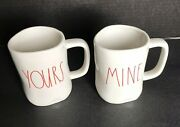 Rae Dunn Yours Mine Coffee Tea Mug Cup Lot 2 Large Red Letter Magenta Artisan