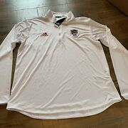 Adidas Nc State Wolfpack Ls Knit Pullover White Red 1/4 Zip Mens Size Medium