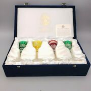 Fabergeand039 Crystal Cordial Imperial Glass Set Of 4 W/ Original Gift Box