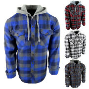 Mens Plaid Flannel Shirt Hoodie Lightweight Button Flap Pockets Casual No Lining