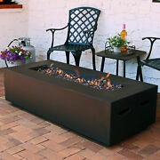 Sunnydaze Brown Lp Gas Modern Fire Pit Coffee Table W/ Cover And Lava Rocks - 56