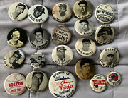 1950and039s Pm10 Stadium Pin Lot Of 21 Berra/williams/red Sox/yankees 1-3/4 Vg-mt