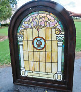 Antique Arch Stained Glass Window With Harp - Ca. 1880s