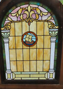 Antique Arch Stained Glass Window With Ship - Ca. 1880s